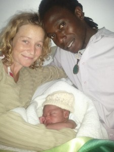 Lisa, Michel and their newborn son Tadiwa