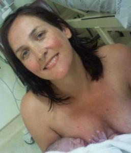 Keri-Lynn and her newborn: so proud!